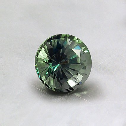 5mm Unheated Green Round Sapphire, top view