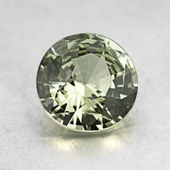 7.5mm Light Green Round Sapphire, top view