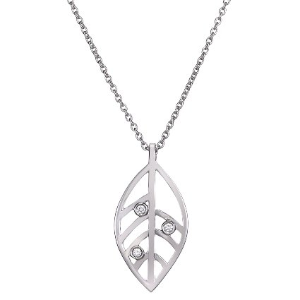 Open Leaf Pendant With Diamond Accents In 18k White Gold