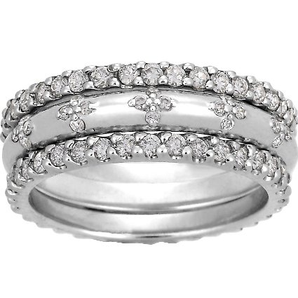 8d7cc3595d1 18K White Gold Diamond Petals Ring Stack (over 1 ct.tw.)