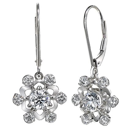 18K White Gold Diamond Snowflake Earrings (over 3/4 ct.tw.), top view