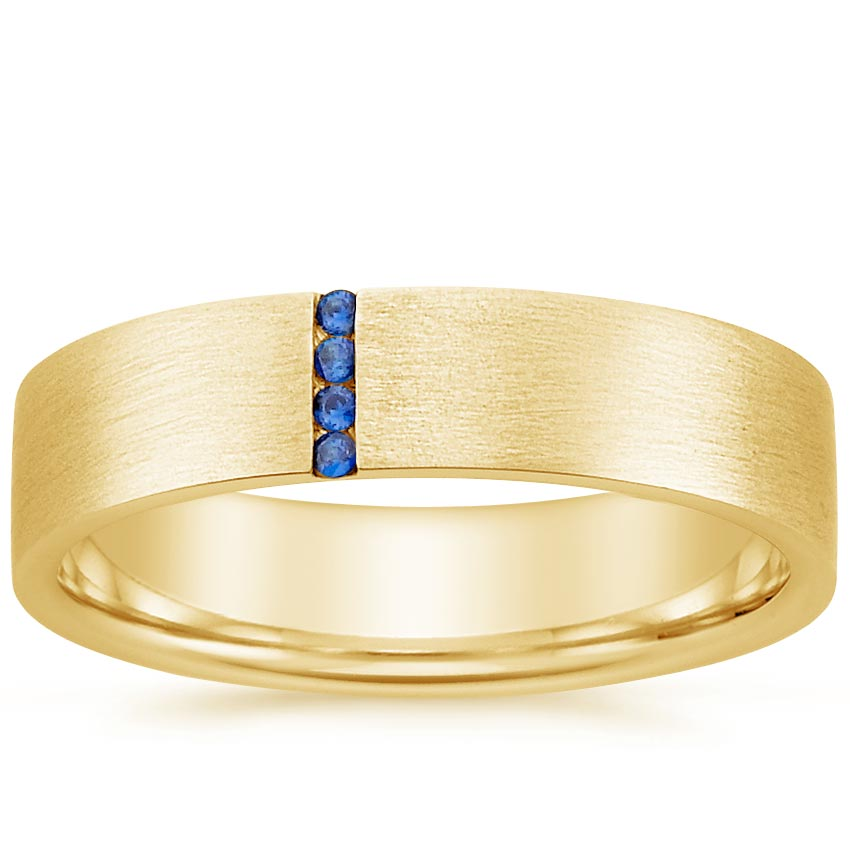 Yellow Gold Horizon Sapphire Wedding Ring