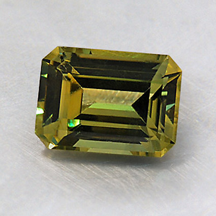 7.5X5.5mm Premium Green Emerald Cut Sapphire, top view