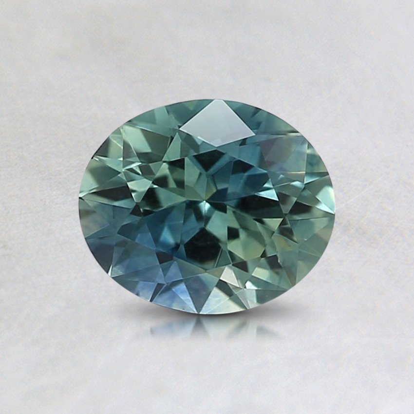 6.4X5.4mm Teal Oval Sapphire, top view