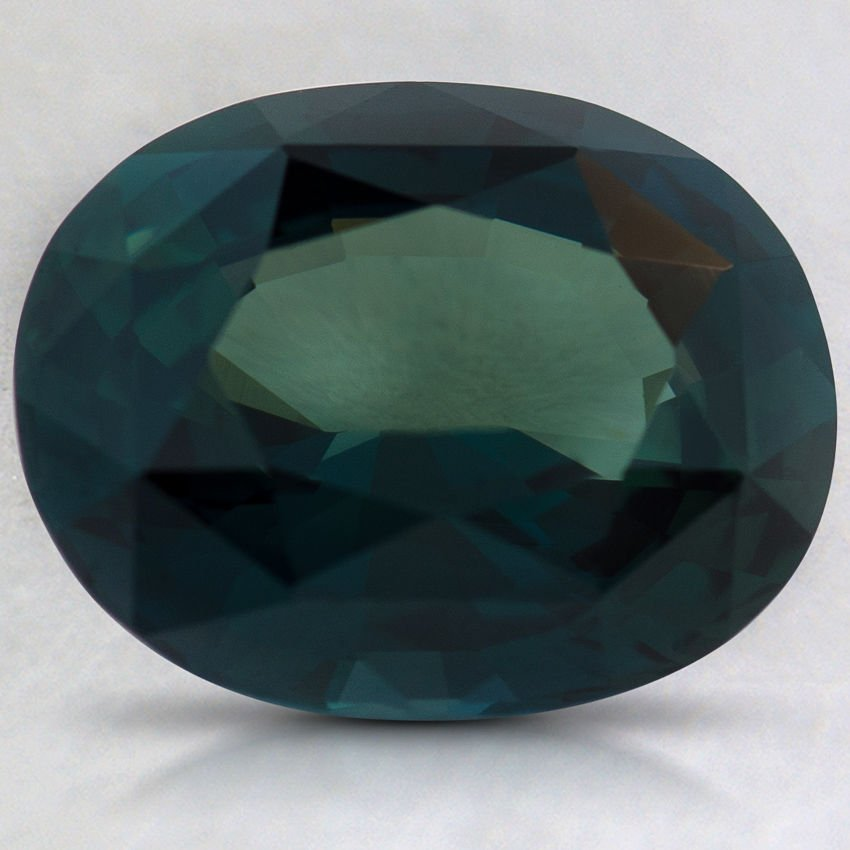 9.7x7.9mm Premium Teal Oval Sapphire, top view