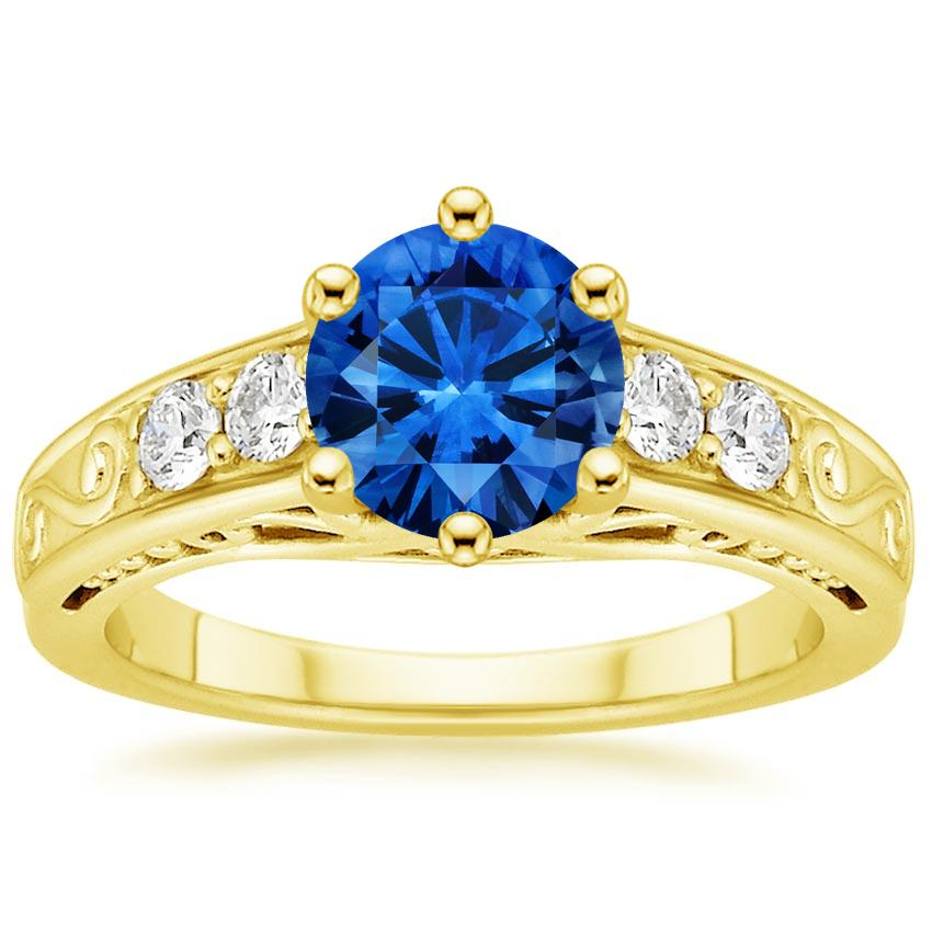 Sapphire Art Deco Filigree Diamond Ring (1/4 ct. tw.) in 18K Yellow Gold with 6.5mm Round Blue Sapphire