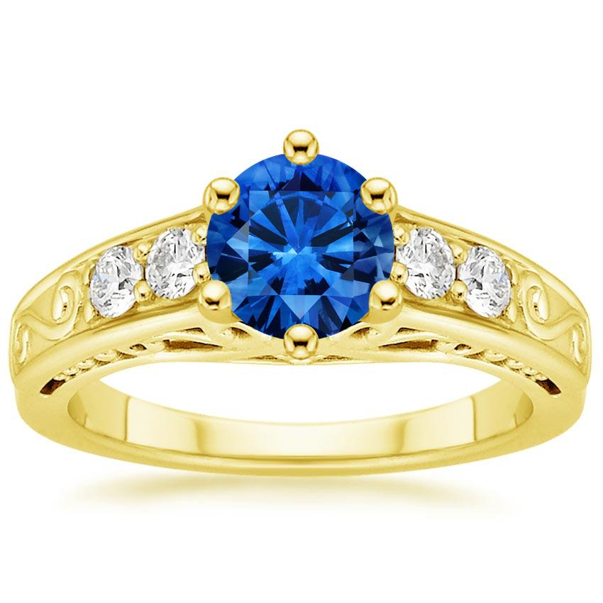 Sapphire Art Deco Filigree Diamond Ring (1/4 ct. tw.) in 18K Yellow Gold with 6mm Round Blue Sapphire