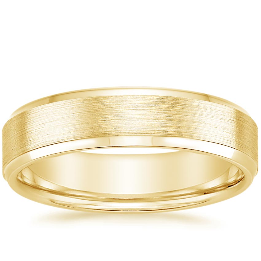 Yellow Gold 5.5mm Beveled Edge Matte Wedding Ring