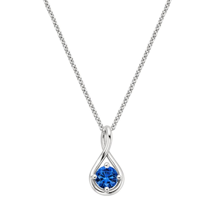 Top Twenty Gifts - 18K WHITE GOLD SAPPHIRE TWIST PENDANT