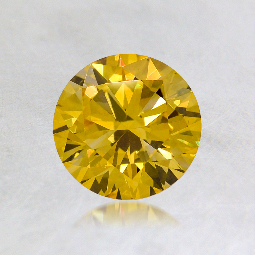 0.74 ct. Lab Created Fancy Vivid Yellow Round Diamond, top view