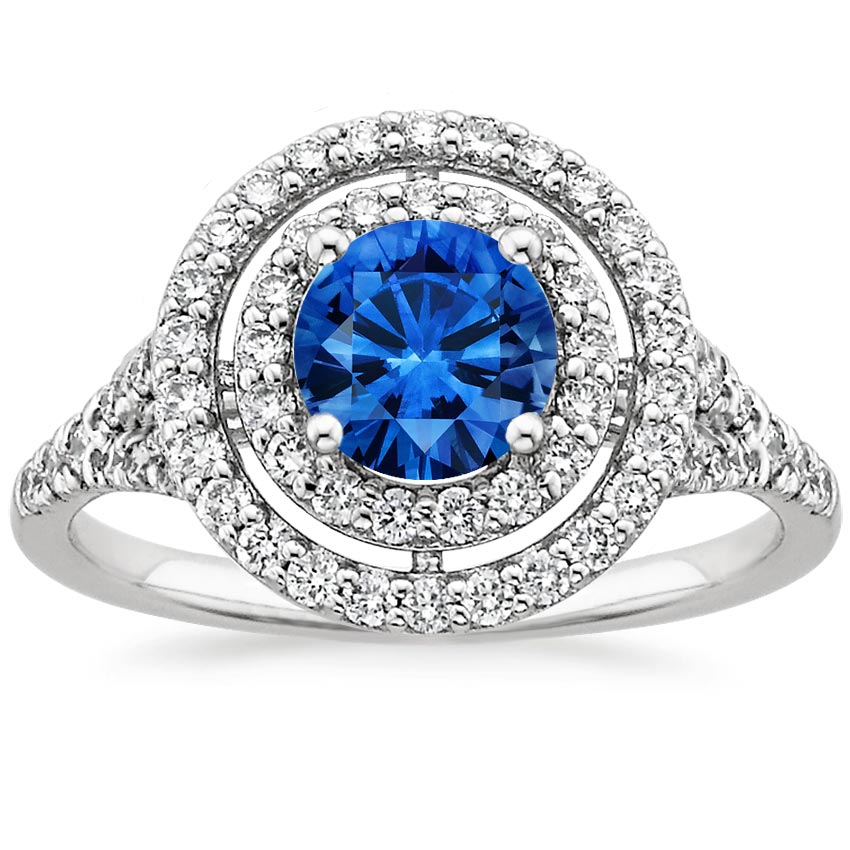 18K White Gold Sapphire Double Halo Diamond Ring (1/2 ct. tw.), top view