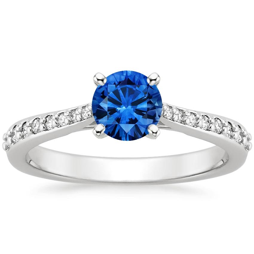 Platinum Sapphire Petite Tapered Pavé Diamond Trellis Ring, top view
