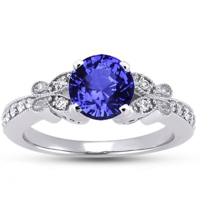 Sapphire Monarch Diamond Ring in Platinum with 6mm Round Blue Sapphire