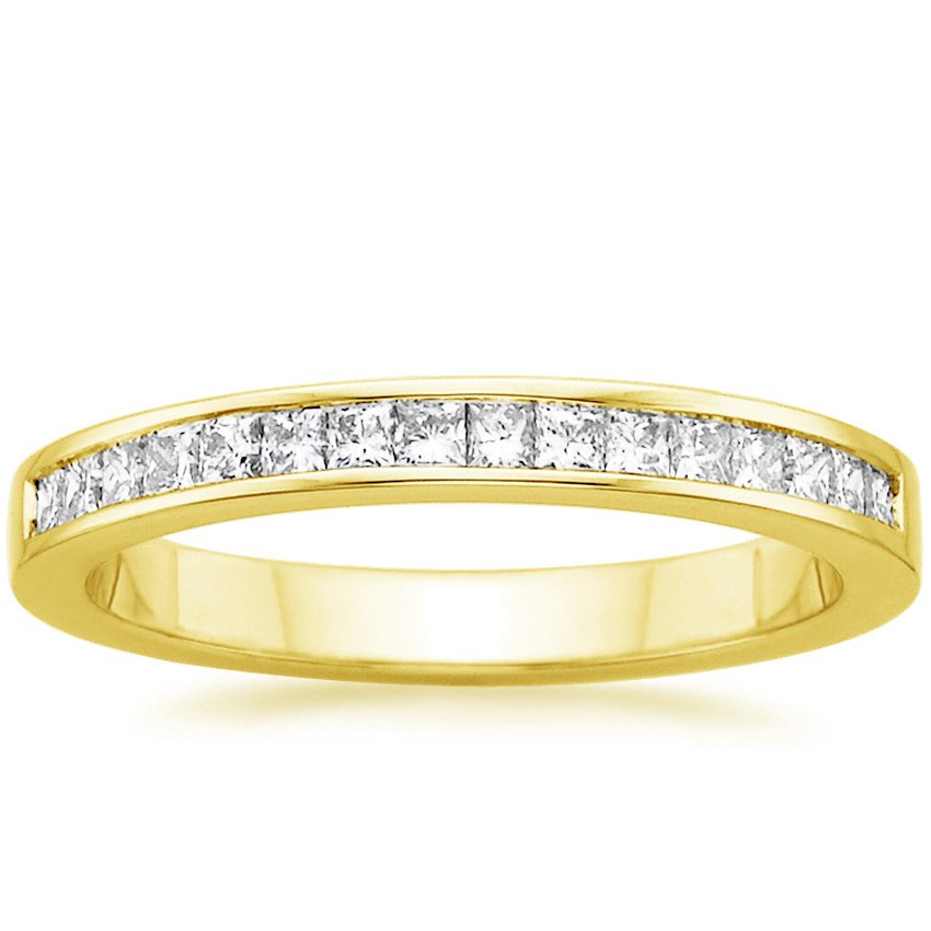 Yellow Gold Petite Channel Set Princess Diamond Ring