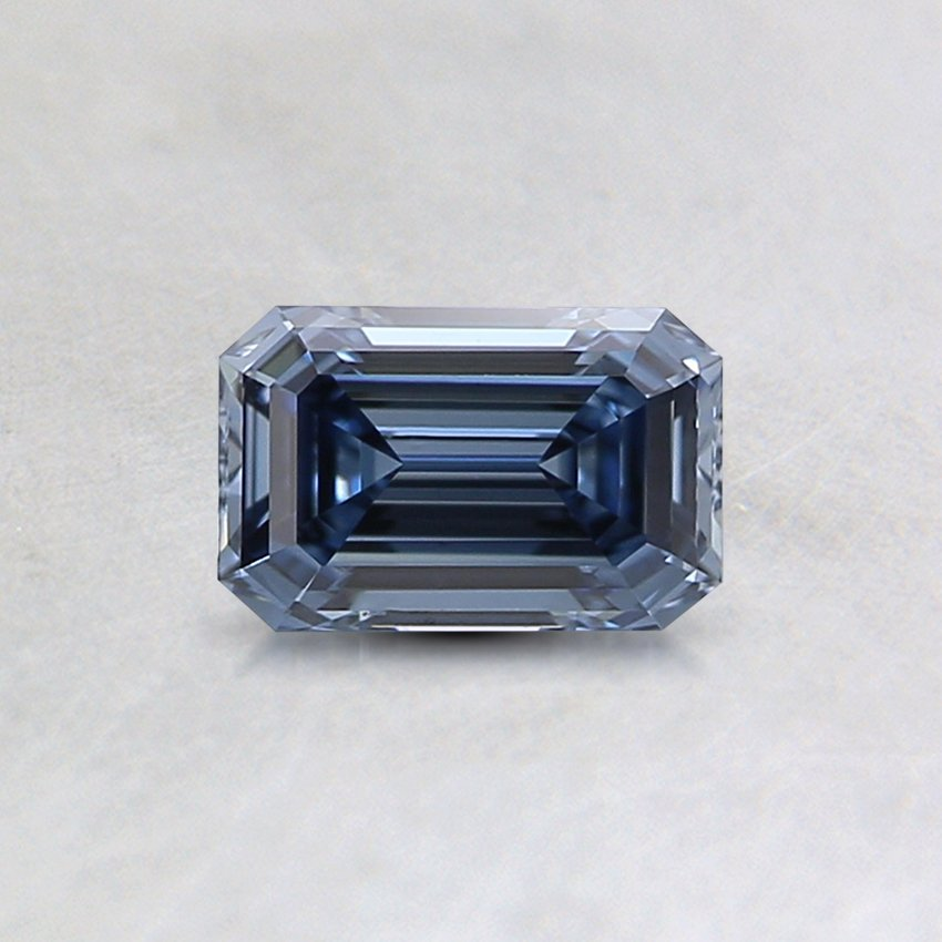 0.4 Ct. Lab Created Fancy Deep Blue Emerald Cut Diamond, top view