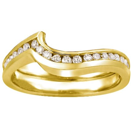 Yellow Gold Cascade Wedding Ring with Channel Diamond Accents