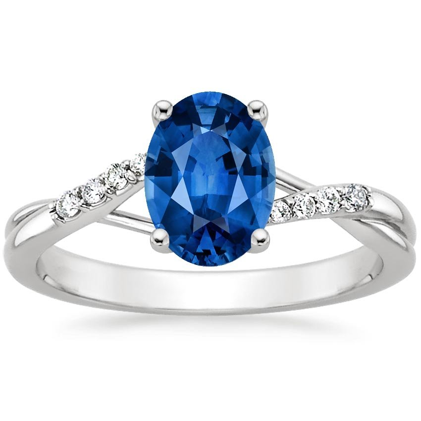 18K White Gold Sapphire Chamise Diamond Ring, top view