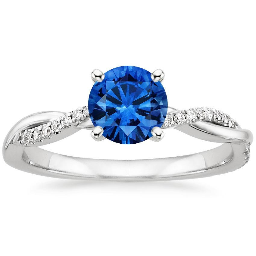 18K White Gold Sapphire Petite Twisted Vine Diamond Ring, top view