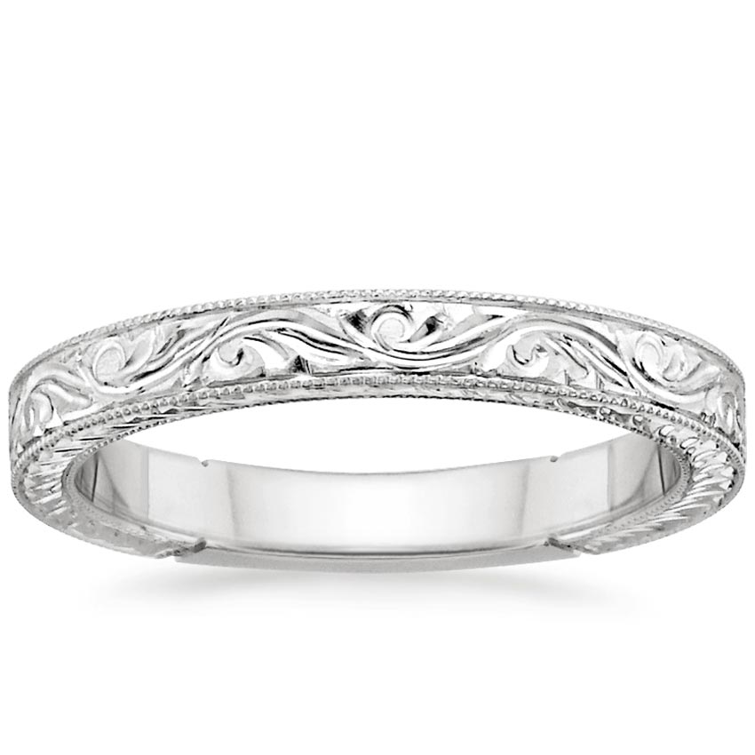 18K White Gold Hand-Engraved Laurel Ring, top view