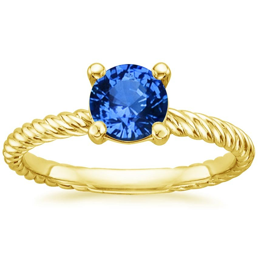 18K Yellow Gold Sapphire Entwined Ring, top view