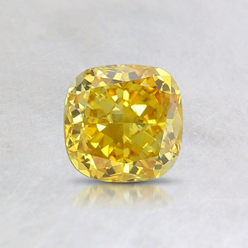 0.54 Ct. Fancy Vivid Yellow Cushion Lab Created Diamond