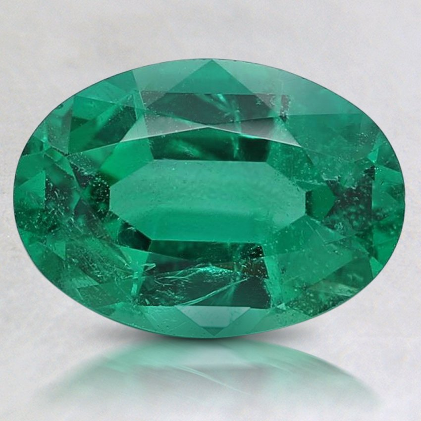 9.5x6.8mm Oval Emerald, top view