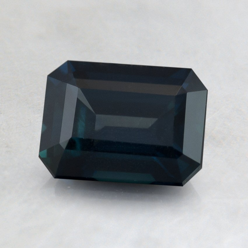 7x5mm Premium Teal Emerald Cut Sapphire, top view