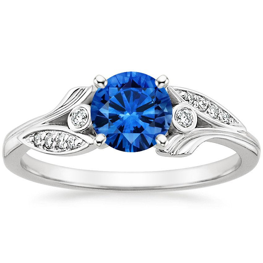 18K White Gold Sapphire Jasmine Diamond Ring, top view