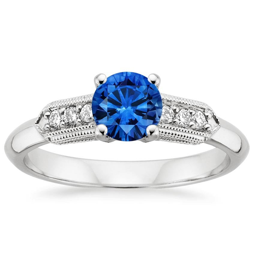 Sapphire Antique Nouveau Diamond Ring in 18K White Gold with 5.5mm Round Blue Sapphire