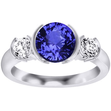 18K White Gold Sapphire Venus Ring, top view