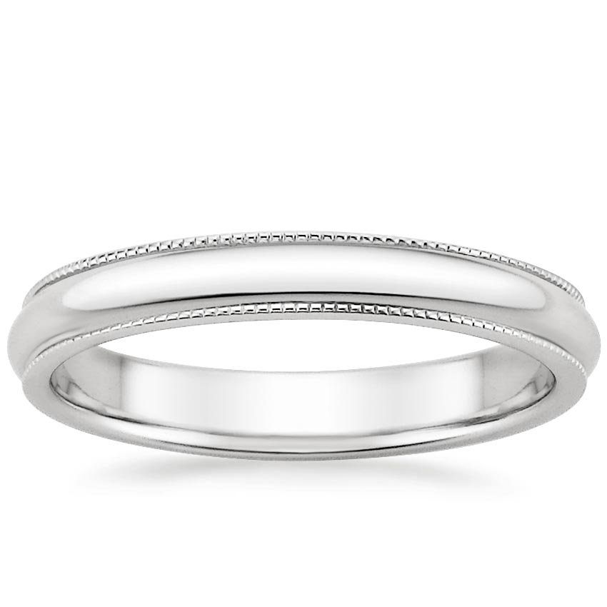 18K White Gold 3mm Milgrain Wedding Ring, top view