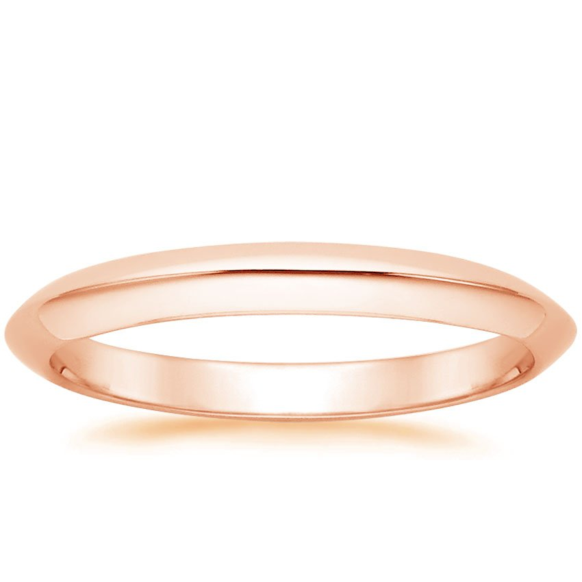 14K Rose Gold Classic Wedding Ring, top view