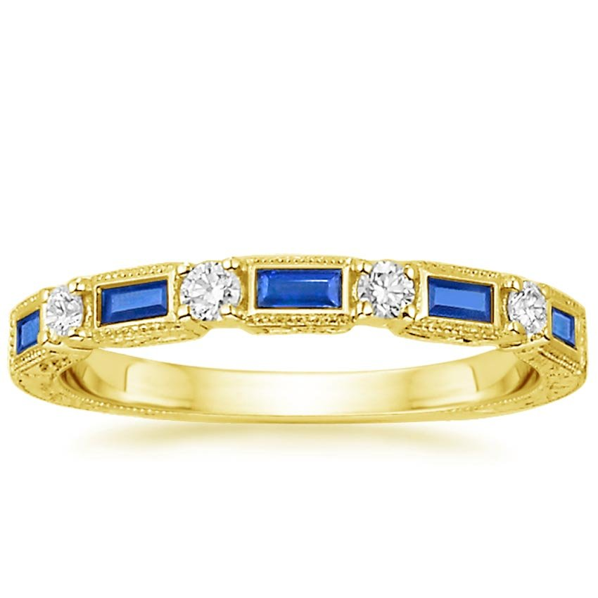 Yellow Gold Vintage Sapphire and Diamond Ring