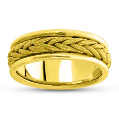 18K Yellow Gold Gibraltar Wedding Ring, top view