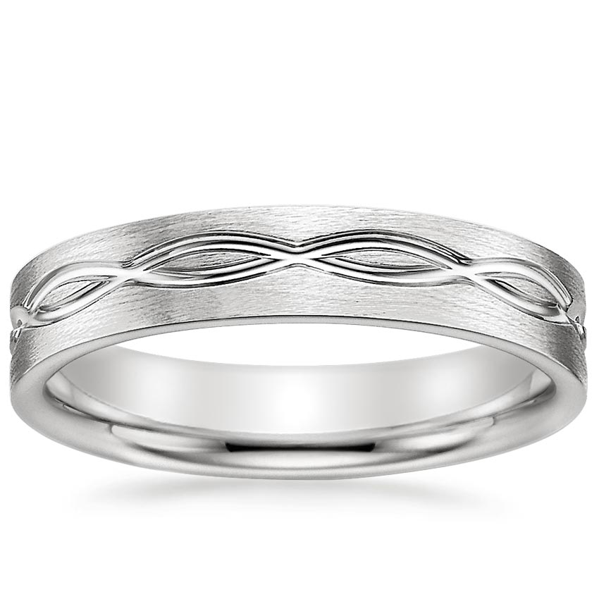 Infinity Wedding Band.18k White Gold Infinity Scroll Ring