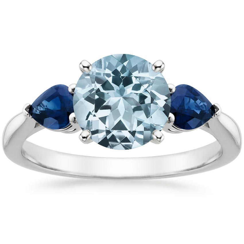 products floral yellow gold ring preview and cluster sapphire aquamarine