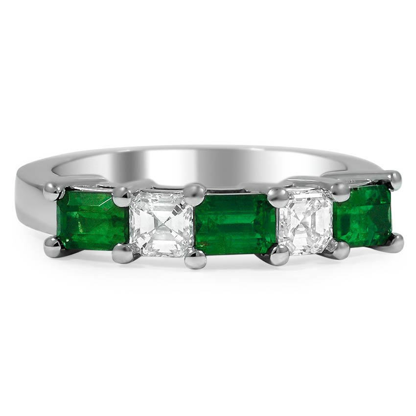 Custom Five Stone Emerald and Diamond Ring