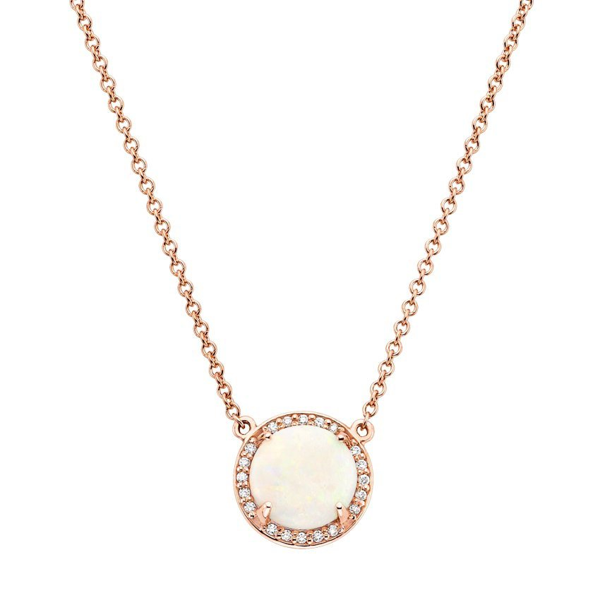 Top Twenty Gifts - 14K ROSE GOLD OPAL HALO DIAMOND PENDANT