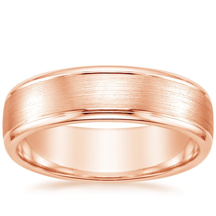 Rose Gold 6mm Beveled Edge Matte Wedding Ring with Grooves