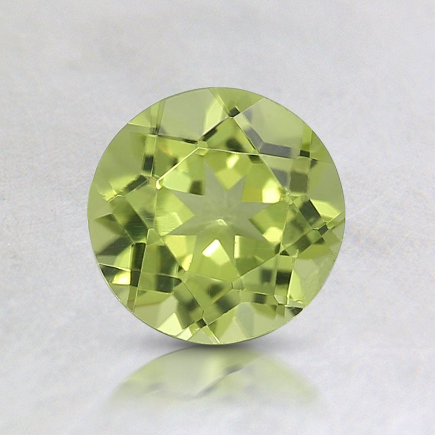 6mm Fine Round Peridot, top view