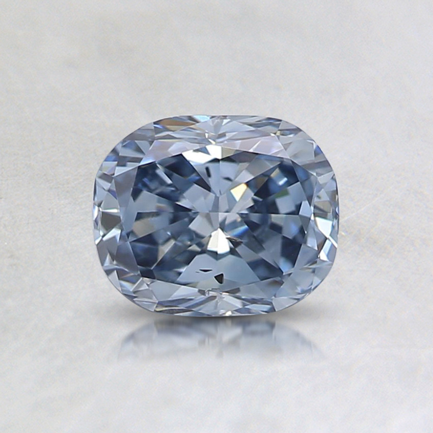 0.75 ct. Lab Created Fancy Intense Blue Cushion Diamond, top view
