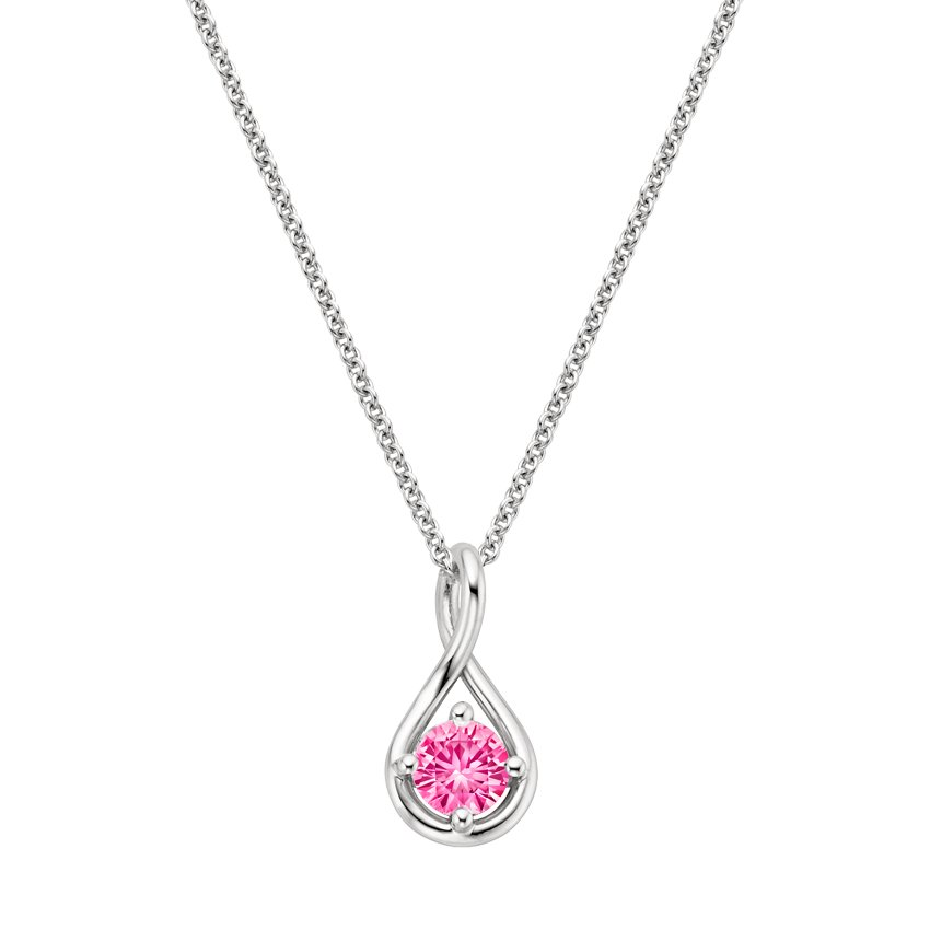 18K White Gold Pink Sapphire Twist Pendant, top view