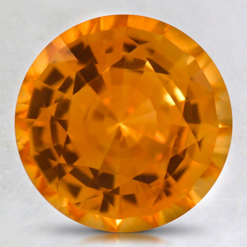 9mm Super Premium Orange Round Sapphire, top view