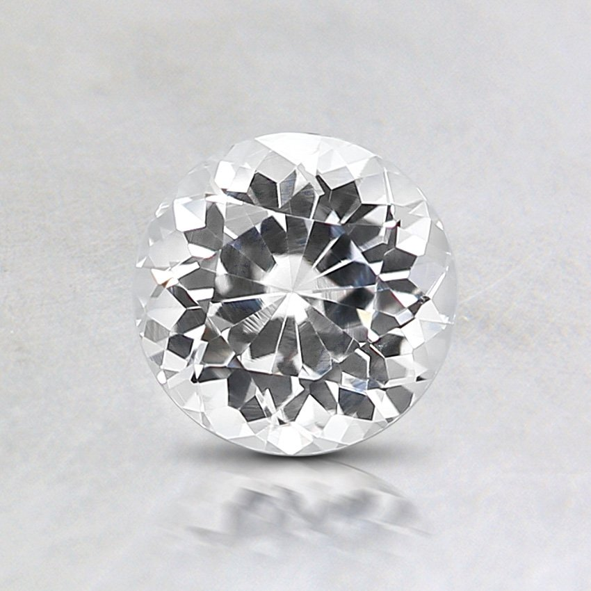 5.5mm White Round Sapphire, top view