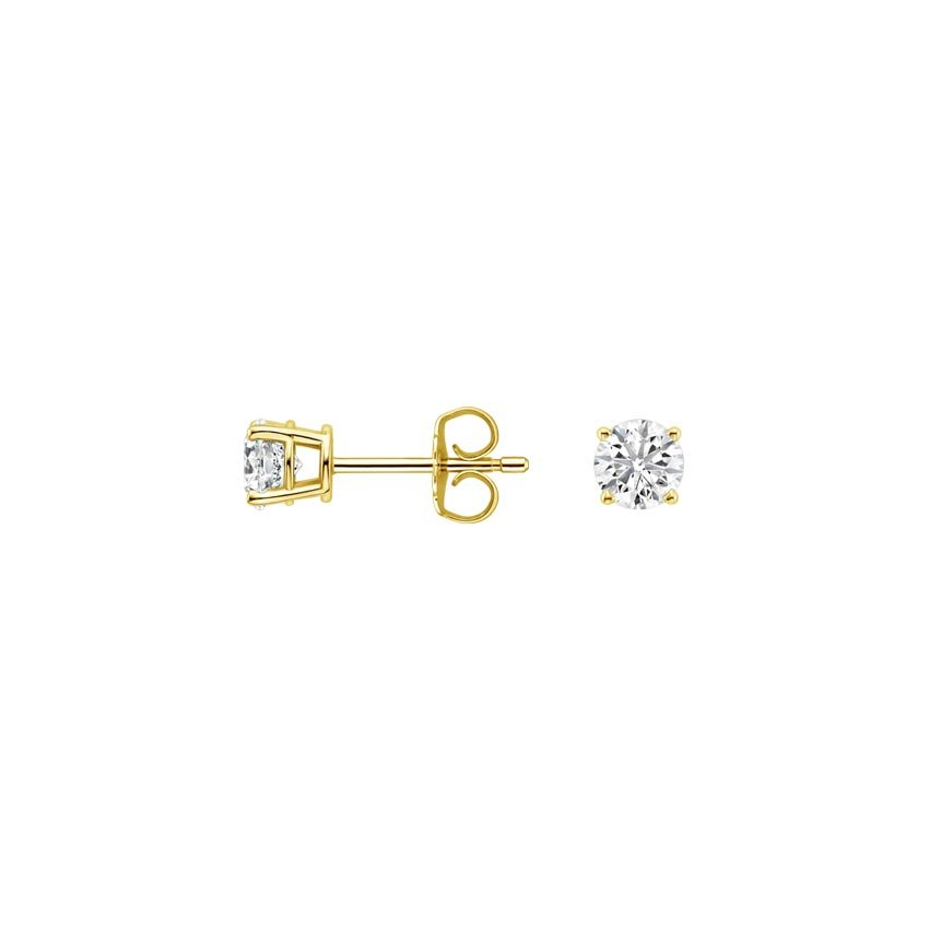 18K Yellow Gold Round Diamond Stud Earrings (1/5 ct. tw.), top view
