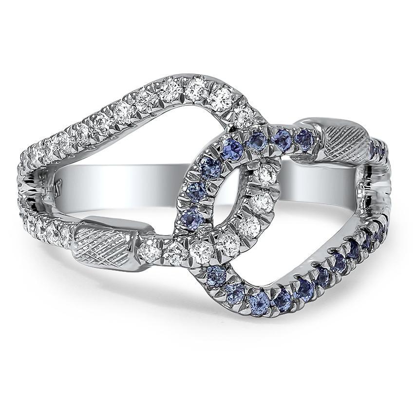 diamond and tanzanite carabiner ring - Custom Wedding Ring