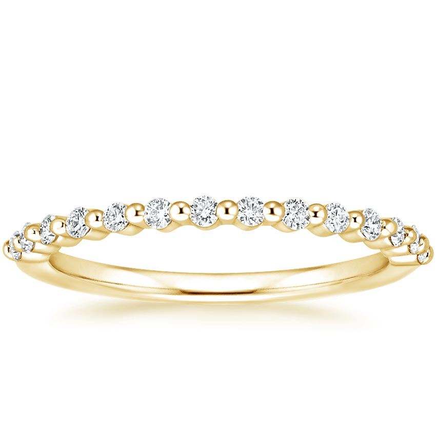 Yellow Gold Petite Floating Shared Prong Diamond Ring