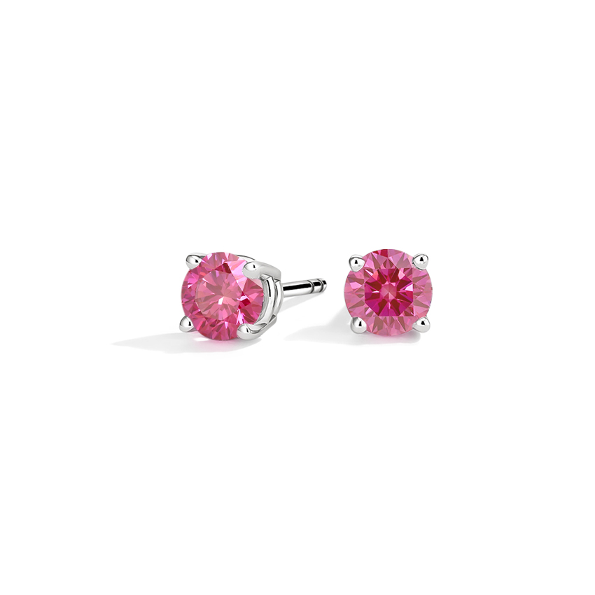Pink Lab Created Stud Earrings