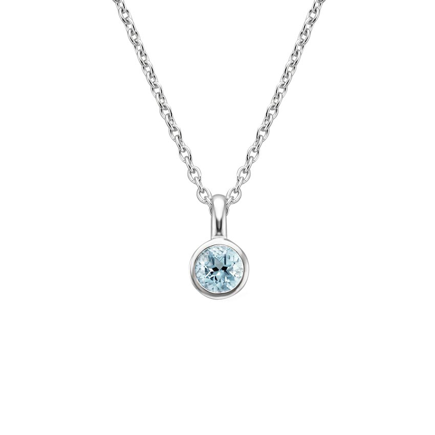 Bezel Aquamarine Necklace