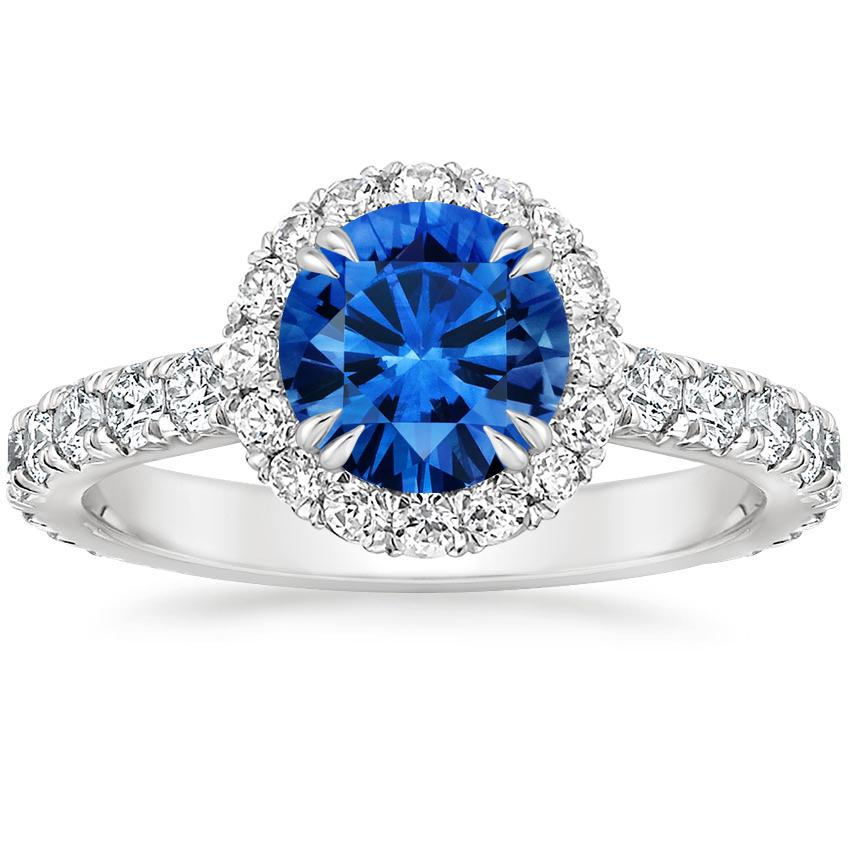 Sapphire Luxe Sienna Halo Diamond Ring in 18K White Gold with 6.5mm Round Blue Sapphire